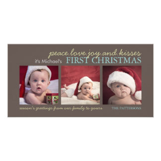 Peace Love Joy Baby s First Christmas Photo Card