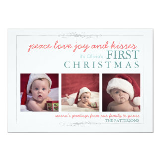 Peace Love Joy Baby's First Christmas Photo Card