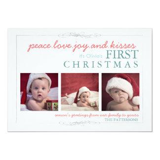"Peace Love Joy Baby's First Christmas Photo Card 5"" X 7"" Invitation Card"