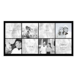 Peace Love Joy Blocks Photo Collage Holiday Card Custom Photo Card