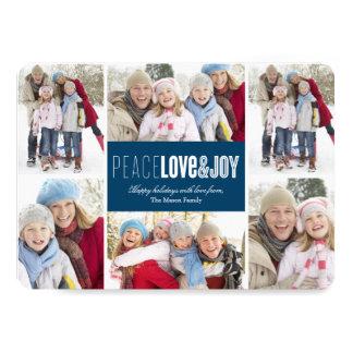 "Peace, Love & Joy | Blue 5"" X 7"" Invitation Card"
