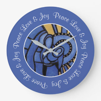 Peace Love Joy Blue Holy Family Christmas Large Clock