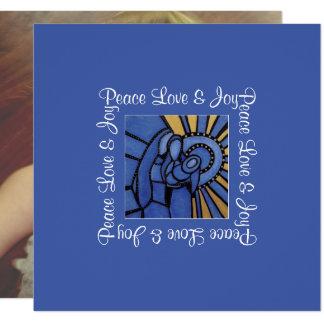 Peace Love Joy Blue Holy Family Christmas Photo Card
