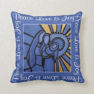 Peace Love Joy Blue Holy Family Christmas Throw Pillow