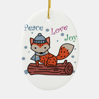 Peace Love Joy Ceramic Oval Ornament