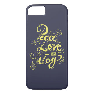 """Peace Love Joy"" Christmas (blue) - Xmas gifts iPhone 8/7 Case"