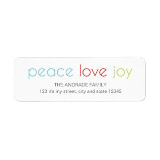 Peace Love Joy Christmas Holiday Blue Red Green Return Address Label