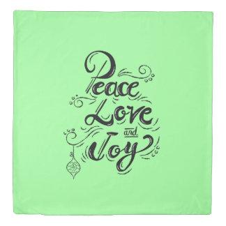 """Peace Love Joy"" Christmas mint green bedding Duvet Cover"