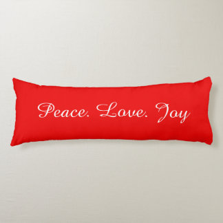 Peace Love Joy Christmas New Year Holidays Red Body Pillow