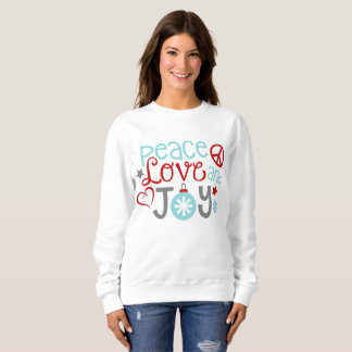 Peace love joy Christmas word art womens Sweatshirt