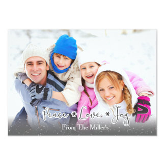 Peace.Love.Joy Family Photo Holiday Card-Flatcard Card