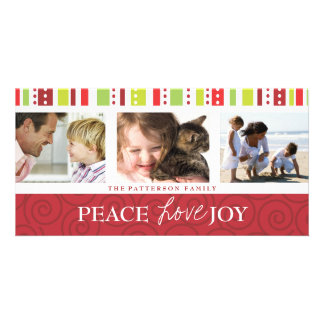 Peace Love Joy Festive Swirl Photo Collage in Red Photo Card Template