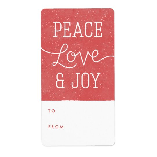 Peace Love & Joy Gift Tag Label - Red