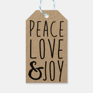 Peace, Love & Joy Gift Tags - Add Your Own Name Pack Of Gift Tags