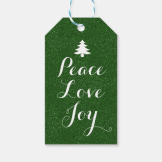 Peace Love Joy Green Glitter Gift Tags