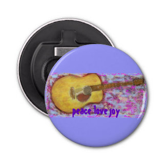 peace love joy guitar button bottle opener