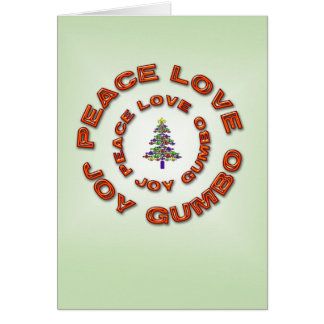 Peace,Love,Joy,Gumbo Fleur de Lis Xmas Tree Card