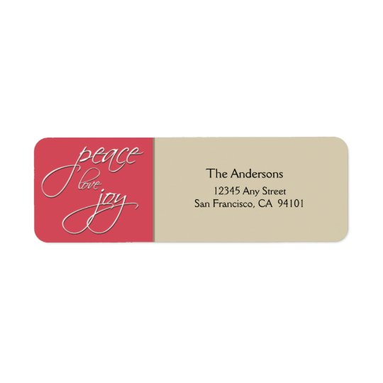 Peace Love Joy Holiday Address Label (pink)