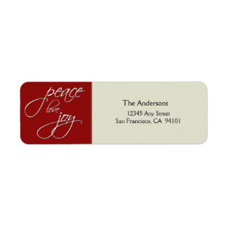 Peace Love Joy Holiday Address Label (red)