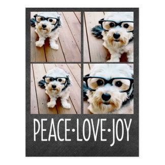 Peace Love Joy Holiday Chalkboard Photo Collage Postcard