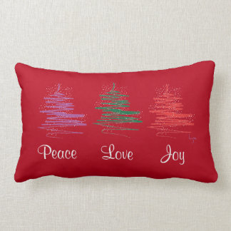 Peace, Love, Joy, Holiday Modern Red Lumbar Pillow