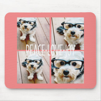 Peace Love Joy Holiday photo collage Coral Mouse Pad