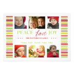 Peace Love Joy Holiday Stripes Photo Card Greeting Custom Announcements