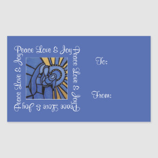 Peace Love Joy Holy Family Blue Christmas To  From Sticker