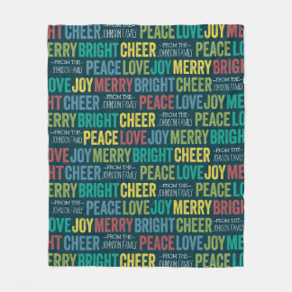 Peace Love Joy Merry Cheer with custom Family Name Fleece Blanket
