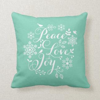 Peace, Love, Joy, Merry Christmas Throw Pillow