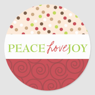 Peace Love Joy Polka Dots in Red Round Sticker