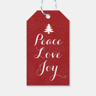 Peace Love Joy Red Glitter Gift Tags