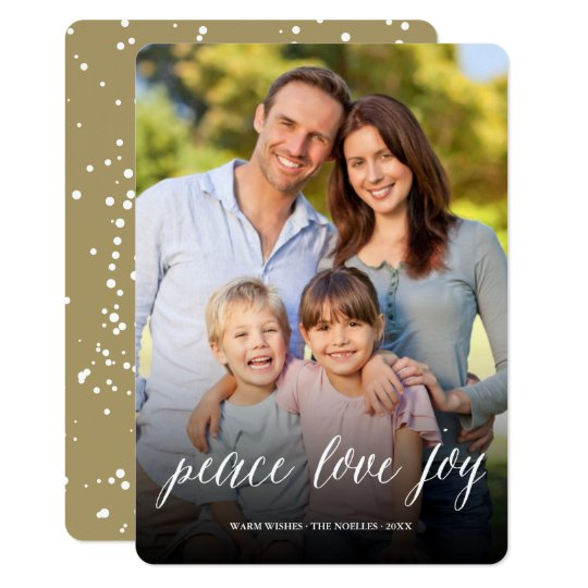 Peace Love Joy Script Modern Holiday Photo Card