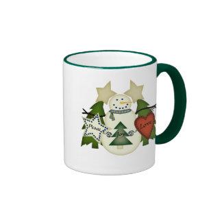 Peace Love Joy Snowman Coffee Mug
