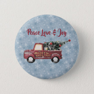 Peace Love & Joy Toy Truck Merry Christmas 2 Inch Round Button