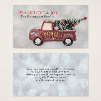 Peace Love & Joy Toy Truck Merry Christmas Business Card