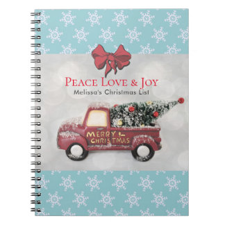 Peace Love & Joy Toy Truck Merry Christmas Notebooks