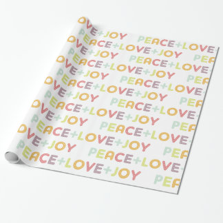 PEACE LOVE JOY TYPOGRAPHY HOLIDAYS FESTIVE WRAPPING PAPER
