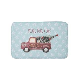 Peace Love & Joy w/ Red Toy Truck Merry Christmas Bath Mat