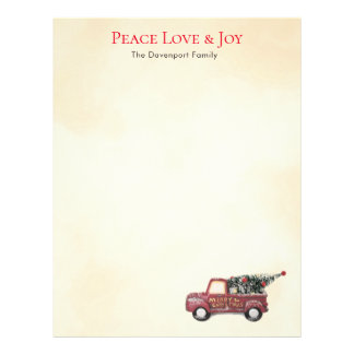 Peace Love & Joy w/ Red Toy Truck Merry Christmas Letterhead