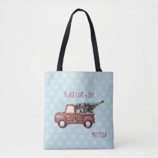 Peace Love & Joy w/ RedToy Truck Merry Christmas Tote Bag