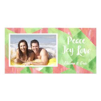 Peace Love Joy Watercolor Photo Card