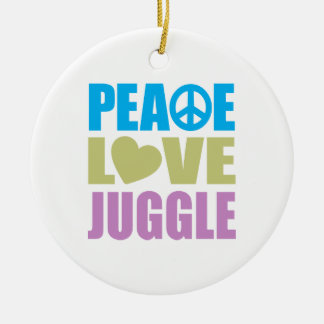 Peace Love Juggle Round Ceramic Ornament