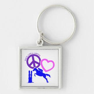 PEACE-LOVE-JUMPING PORTE-CLÉ CARRÉ ARGENTÉ