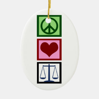 Peace Love Justice Ceramic Ornament