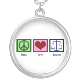 Peace Love Justice Silver Plated Necklace