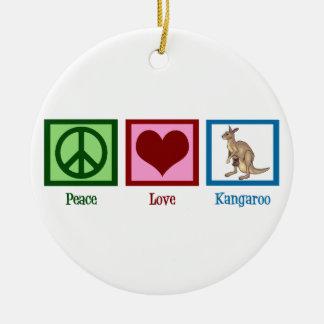 Peace Love Kangaroos Round Ceramic Ornament