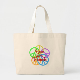 Peace Love Karaoke Large Tote Bag