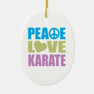 Peace Love Karate Ceramic Oval Ornament