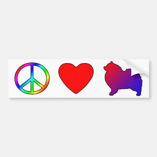Peace Love Keeshonden Bumper Sticker